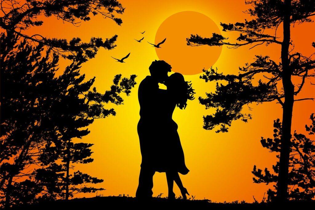 couple, silhouette, love